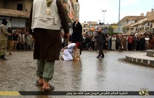 """La piazza di Raqqa chiamata """"Saha Jahim"""" (Piazza Inferno): teatro delle esecuzioni pubbliche (You Tube)"""